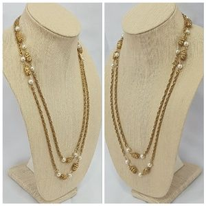 Jewelry - Extra long goldtone beaded necklace